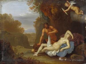 Slapende Venus met een sater in een italianiserend landschap