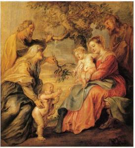 De heilige familie onder de appelboom met Johannes de Doper, Elisabeth en Zacharias