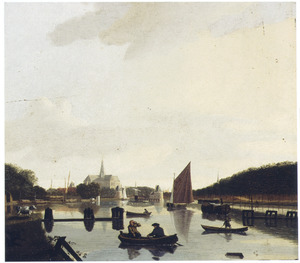 Gezicht op Haarlem vanuit het zuidoosten: St Bavo en de Catharinabrug vanaf het Spaarne