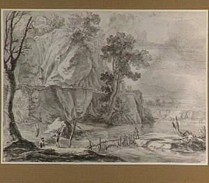 Italianiserend rotslandschap met vissers bij een stroomversnelling