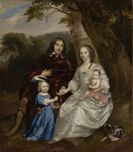 Portret van Govert van Slingelandt (1623-1690), Christina van Beveren (1632-1657) en hun kinderen