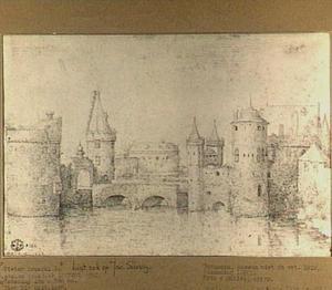 Fantasiegezicht op torens en wallen van Amsterdam