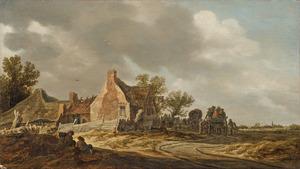 Landschap met wagens voor een herberg