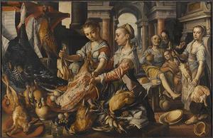 Keukenscène met Christus in het huis van Martha en Maria