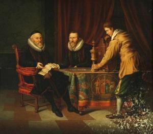 Namens de Staten van Holland biedt Johan van Oldenbarnevelt (1547-1624) een zilveren kelk aan aan Arent Meyndertsz. Fabricius (?-1624)