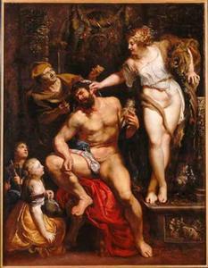De verliefde Hercules door Omphale geknecht