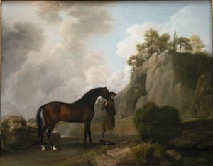 De Arabische hengst van de Markies van Rockingham met een stalknecht bij Creswell Crags