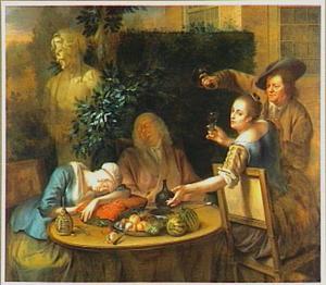 Een drinkend jong paar bij een tafel, waaraan een in slaap gevallen man en vrouw zitten