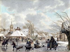 Wintergezicht met schaatsers bij het dorp Nieuwland (de maand december)