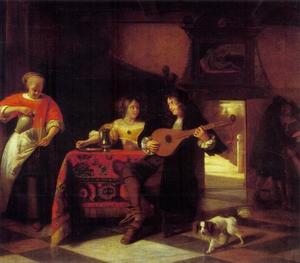 Mandoline spelende man met jonge vrouw, dienstmeid en een amoureus paar