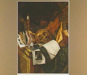 Vanitasstilleven met muziekinstrumenten, boeken, schedel en schelp