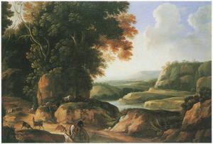 Zuidelijklandschap met ruiter, honden, herders en hun vee bij een drenkplaats