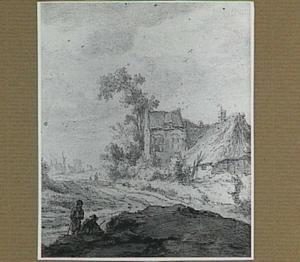 Boerderij aan een landweg, op de achtergrond een kerk