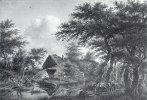 Landschap met een hoeve onder bomen
