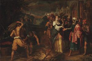 Tamar toont Juda zijn ring voor zij naar de brandstapel wordt geleid (Genesis 38)