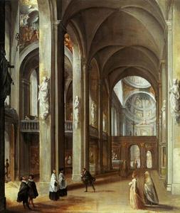 Interieur van een Roomse kerk
