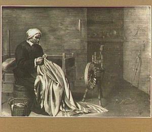 Boerin met verstelwerk in een interieur