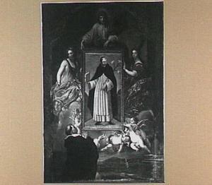 Het wonderdoende portret van de H. Dominicus wordt door heiligen en engelen ten hemel gedragen, terwijl een dominicaner broeder het vereert