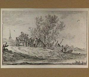Landschap met paard en wagen en figuren aan de waterkant
