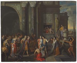 Paris stelt Helena voor aan Priamus, Hecuba en het hof te Troje
