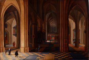 Interieur van een gotische kerk bij nacht