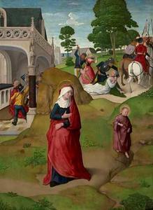 Zacharias verlaat met stomheid geslagen de tempel. In de achtergrond: de verkondiging aan Zacharias (links) en de geboorte van Johannes de Doper (rechts); De vlucht van Elisabeth met haar zoon. In de achtergrond: de moord op Zacharias (links) en de kindermoord te Bethlehem (rechts) (oorspronkelijk elkaars keerzijden)