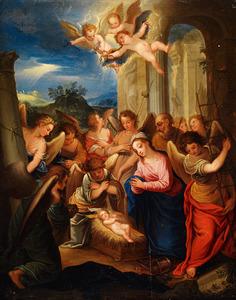 De aanbidding van Jezus door zijn ouders en engelen met de Arma Christi