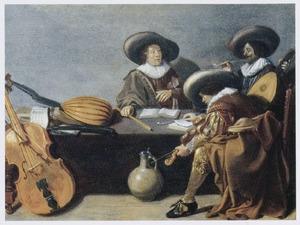 Drie mannen, rokend en musicerend