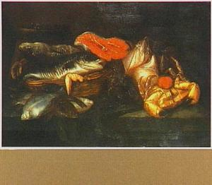 Stilleven met kabeljauw, krab, zalm en platvis