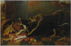 Twee honden, vechtend om slachtafval
