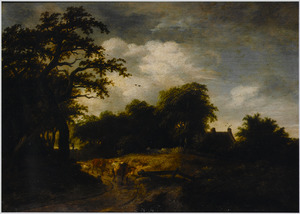 Landschap met koeien en schapen op een weg langs een huis