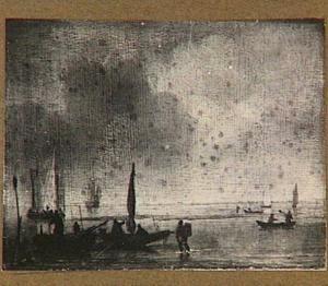 Vissersschepen voor de kust