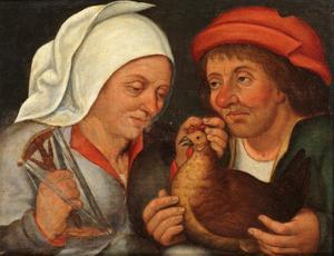 Twee boeren met een kip en een haspel