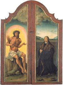 Christus op de koude steen (links); portret van een stichter (rechts)