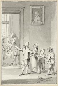 Illustratie voor 'Het goede voorbeeld' in de Kleine gedichten voor kinderen door H. van Alphen