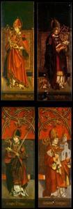 Heilige Albanus (binnenzijde links), heilige Valentinus (binnenzijde rechts; Heilige Alcuinus (buitenzijde links), heilige Wolfgang (buitenzijde rechts)