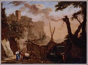 Zuidelijk berglandschap met herders en vee nabij een waterval