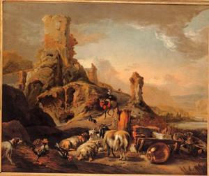 Italiaans berglandschap met herders en vee bij klassieke ruïnes