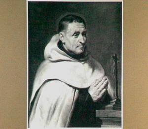 Portret ten halven lijve van een Carmeliter monnik in aanbidding voor de crucifix
