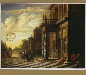 Bordes van een paleis met figuren