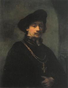 'Zelfportret met baret en gouden ketting met kruis'