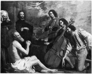 Job op de mestvaalt getroost door zijn vrienden met muziek