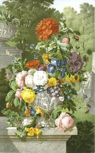 Terracotta vaas met bloemen gedomineerd door een slaapbol voor een parklandschap met rechts een standbeeld van Apollo en Dafne