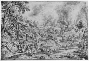 Lot en zijn dochters ontvluchten Sodom en Gomorra, door een engel tot spoed gemaand  (Genesis 19:1-29)