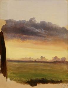 Studie van een landschap met wolken