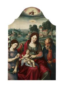 De Heilige Familie met een engel in een landschap