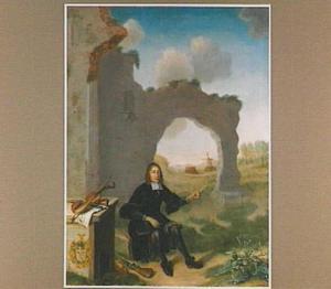Portret van een man zittend voor een ruïne met een fluit in de hand