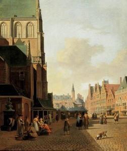 De Riviervismarkt en de Grote Markt in Haarlem met links de Grote of St.-Bavokerk; het stadhuis in het verschiet