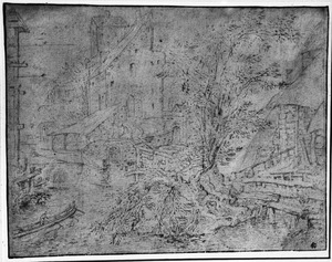 Fortificatie en huizen aan een rivier