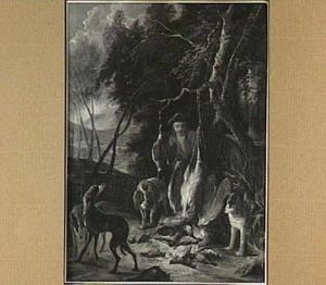 Jager en vier honden bij jachtbuit van gevogelte